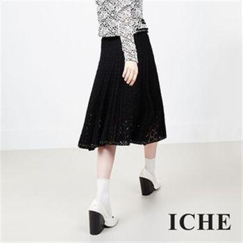 【ICHE 衣哲】蕾絲鏤空羊毛雕花裙