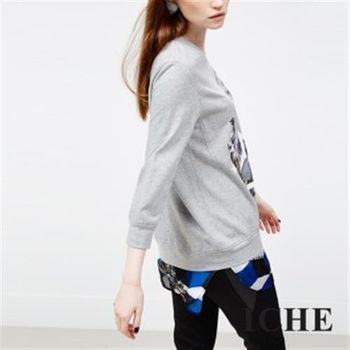 【ICHE 衣哲】拼接幾何印花假兩件上衣