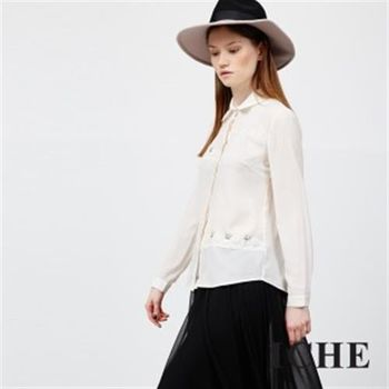 【ICHE 衣哲】立體蕾絲雕花釘珠襯衫上衣
