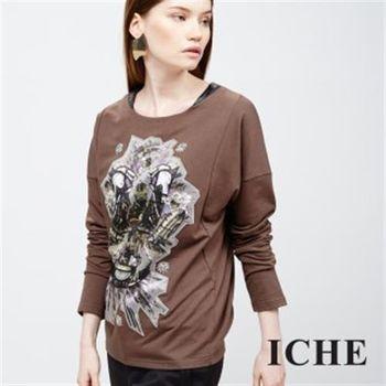 【ICHE 衣哲】圖騰圖紋寬長袖造型上衣