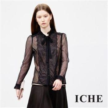 【ICHE 衣哲】蕾絲點點拼接領結上衣