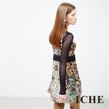【ICHE 衣哲】蕾絲豹紋印花長版上衣