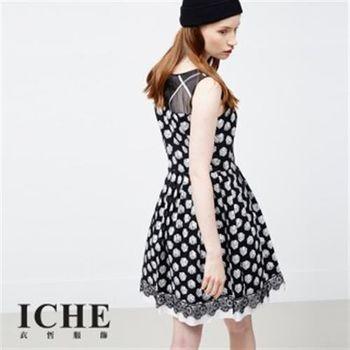 【ICHE 衣哲】骰子印花拼接蕾絲造型洋裝(Cut Out 摟空剪裁)