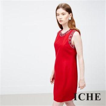 【ICHE 衣哲】寶石釘珠綴點洋裝