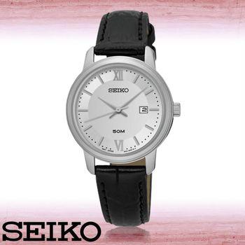 【SEIKO 精工】送禮首選_氣質指針錶_日期顯示_防水_皮革錶帶_女錶(SUR743P1)
