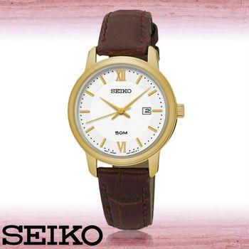 【SEIKO 精工】送禮首選_氣質指針錶_日期顯示_防水_皮革錶帶_女錶(SUR742P1)