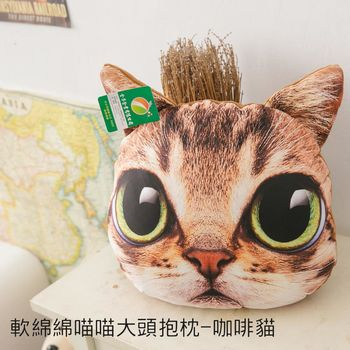 【幸福好物】軟綿綿喵喵大頭抱枕-咖啡貓