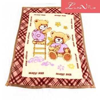 Luna Vita高磅數柔軟加厚包邊卡通雲毯 -  寶貝熊