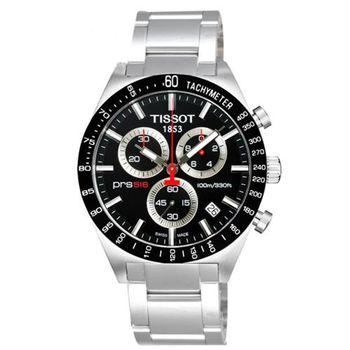 TISSOT PRS516 極速復刻石英計時錶-黑/42mm T0444172105100