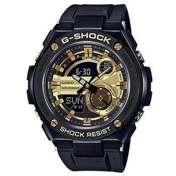 CASIO G-SHOCK黑色鋼鐵時尚運動腕錶/金X黑52.4mm/GST-210B-1A9