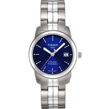 TISSOT PR100 【鈦】都會年代時尚女錶-藍/28mm T0493104404100