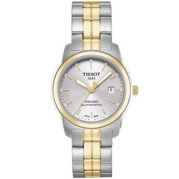 TISSOT 天梭 PR100 經典復刻機械女錶-銀x雙色版/28mm T0493072203100