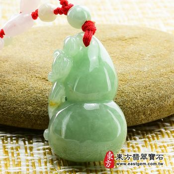 【東方翡翠寶石】葫蘆有蝠(福祿壽) A貨翡翠花件玉墜(油青種)HL010