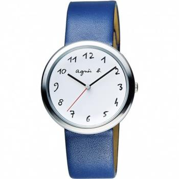 agnes b. 自由的主題時尚腕錶-白x藍/36mm VJ21-KK50Z BH8029X1