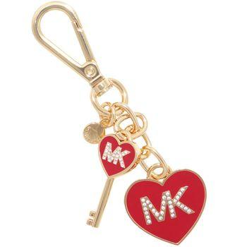【MICHAEL KORS】MK水鑽鑲嵌愛心造型鑰匙圈(金色愛心)