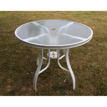 Brother兄弟牌《橘色紗網椅+90cm鋁製玻璃圓桌一桌四椅組》.