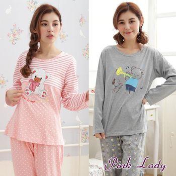 【PINK LADY】寬鬆居家舒適棉柔長袖成套睡衣褲806(2件組)