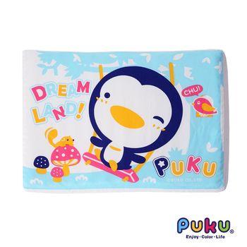 PUKU藍色企鵝 波浪乳膠枕42*30cm-水色
