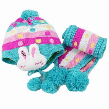 【iSFun】繽紛兔兔*兒童護耳帽+圍巾組/藍