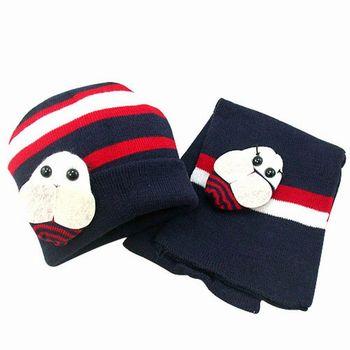 【iSFun】可愛蜜蜂*兒童圍巾+帽組/深藍