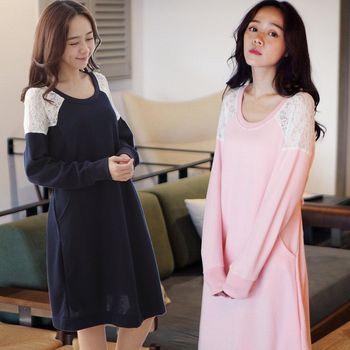 【時尚媽咪】韓系圓領肩部拼接蕾絲洋裝(共二色)