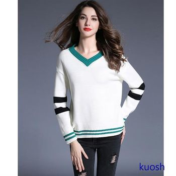 【KUOSH】寬鬆V領針織毛衣(PT10521)