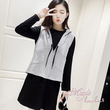 現貨+預購【魔法拉拉】深V真兩件式洋裝K299(百變黑)