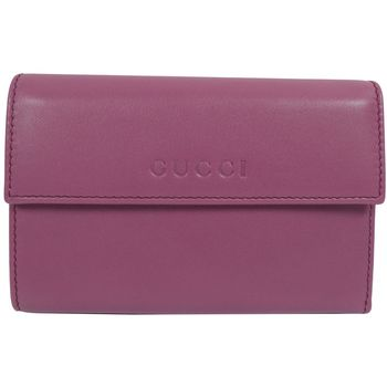 GUCCI 346057 經典LOGO烙印全皮革扣式中夾.紫芋