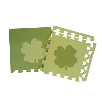 【新生活家】小花紋雙綠幸運草幾何地墊附邊條(32入)