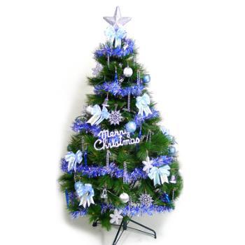 (預購3-5天出貨)台灣製 6呎 / 6尺(180cm)特級綠松針葉聖誕樹(+藍銀色系配件組)(不含燈)