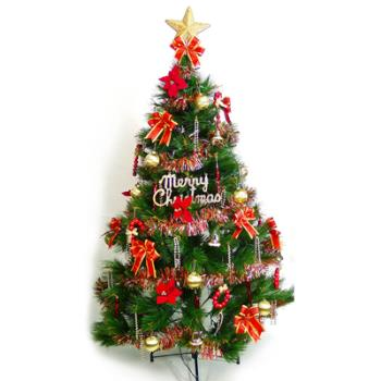 (預購3-5天出貨)台灣製 6呎 / 6尺(180cm)特級綠松針葉聖誕樹 (+紅金色系配件組)(不含燈)