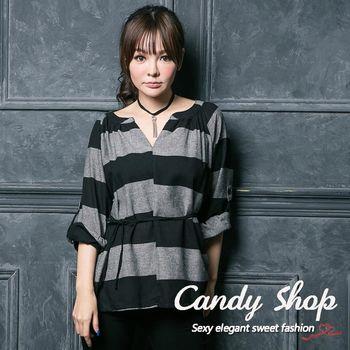 Candy 小鋪  V領條紋腰身綁帶上衣(黑色/藍色)-0094513
