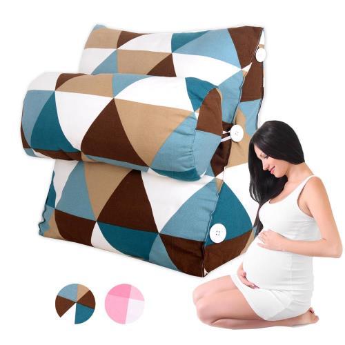 典雅風尚 孕婦媽咪舒壓萬用靠枕/抱枕/腰靠枕 (格紋款)