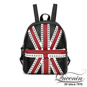 DF Queenin日韓 - 學院風英國國旗鉚釘款皮革後背包