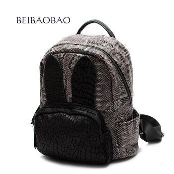 【BEIBAOBAO】日系甜美真皮壓紋後背包(頭層牛皮+蛇紋壓紋)