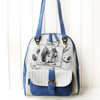 花間公主 閨蜜學院風多用背包雙肩包(藍色)