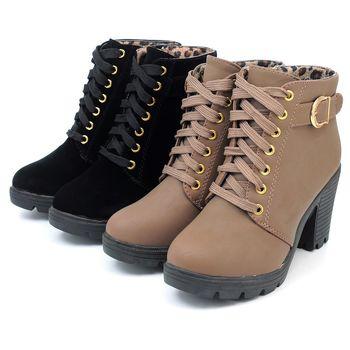 【 cher美鞋】個性釦環綁帶粗跟短靴.♥TQS-ABE