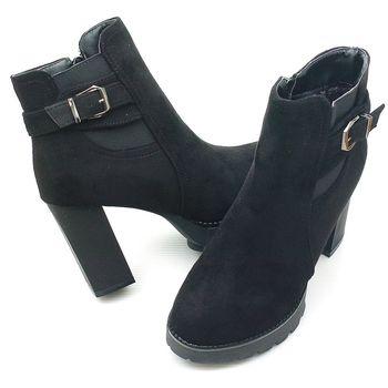 【 cher美鞋】交叉金屬鬆緊帶粗跟踝靴.♥LPSP-L-ABE