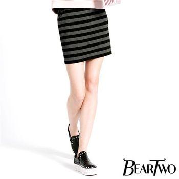 beartwo 休閒條紋鬆緊造型窄裙 (共二色)