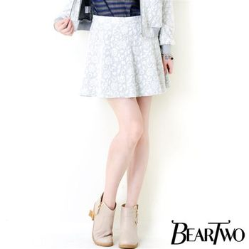 beartwo 浪漫風格玫瑰花紋短裙 (灰色)