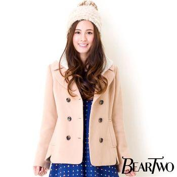 beartwo 氣質連帽設計西裝短大衣 (共二色)