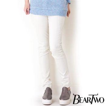 beartwo 車線修身素色顯瘦長褲 ( 白色)