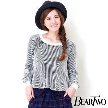 beartwo 個性粗針織造型上衣 (灰色)