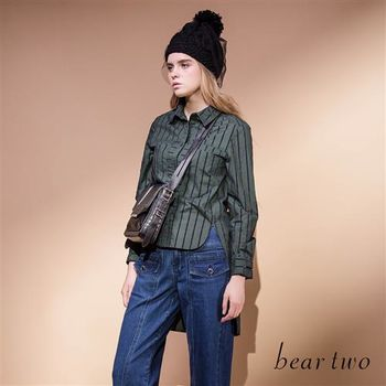 beartwo 個性條紋拼接口袋造型襯衫(二色)