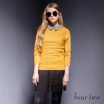 beartwo條紋領片編織感針織上衣 (二色)