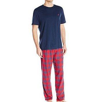 (預購)NAUTICA 2017男時尚ㄒ恤睡褲深藍紅格紋套裝組