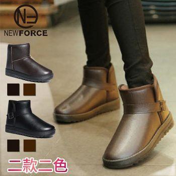 【NEW FORCE】男女款高機能防水真皮革絨毛保暖雪靴-釦帶款棕色