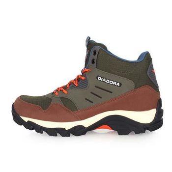【DIADORA】男高筒戶外鞋-登山 走路 休閒 慢跑 綠咖啡