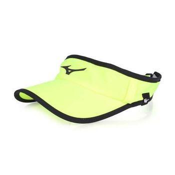 【MIZUNO】女運動慢跑空心帽-路跑 防曬 帽子 螢光黃黑