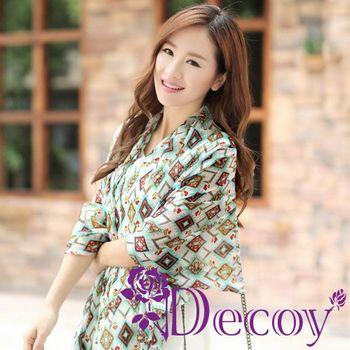 【Decoy】菱格萬花筒*輕柔雪紡圍巾/二色可選